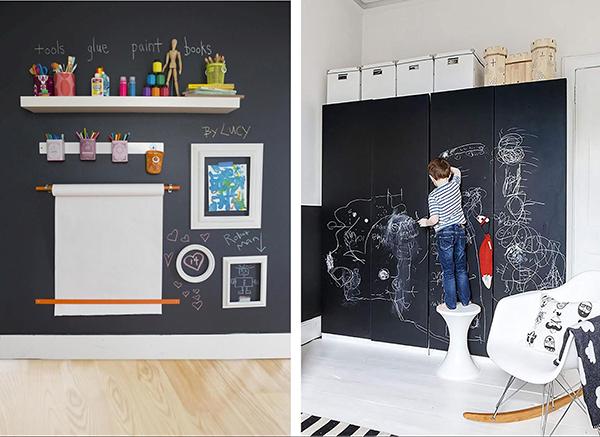 Стены, покрытые грифельной краской, — отличный стимул для творчества.