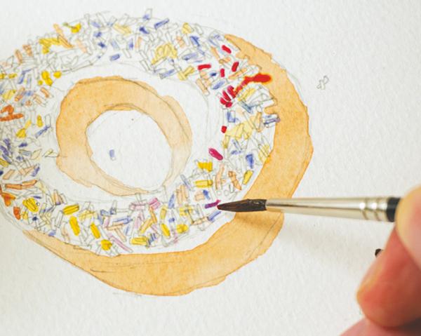 Разноцветную посыпку рисовать непросто.
