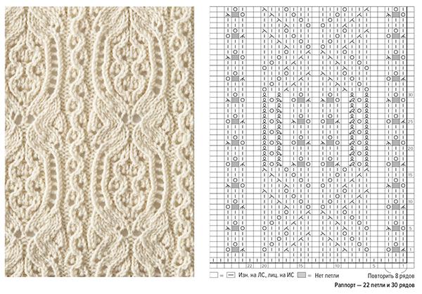 Начните с тела шарфа: наберите 41 петлю и вяжите по схеме узора 258 рядов. Закончите 16-м рядом и закройте петли.