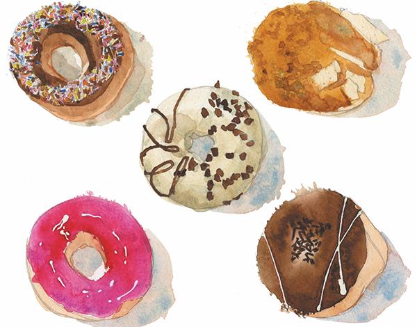 Пончики как поп-арт-объекты идеальны для этюда.