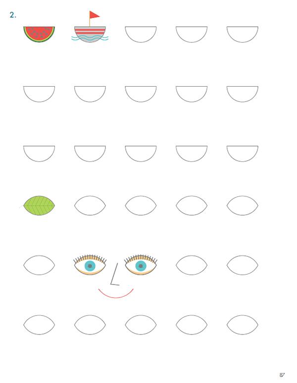 Софи и Плато дорисовывают геометрические фигуры, создавая из них разные интересные картинки.