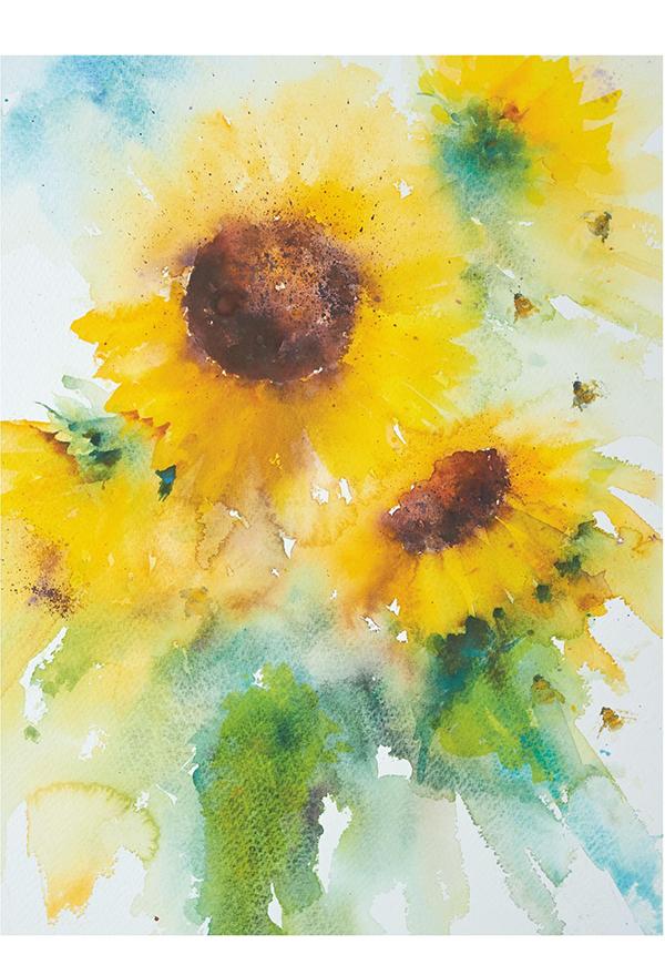 Рядом с цветами можно изобразить животных, насекомых и птиц.
