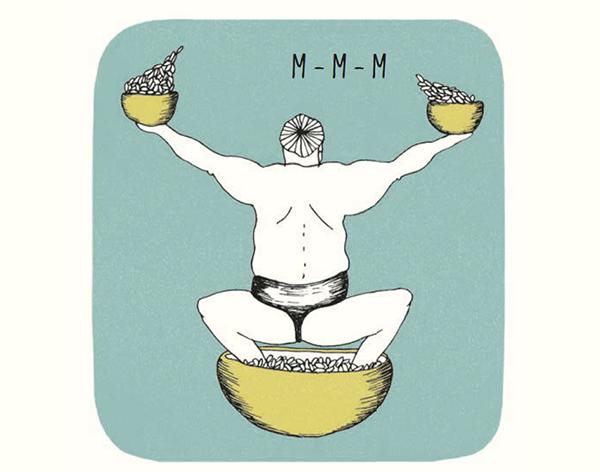 Борец сумо съедает в день восемь огромных чашек риса