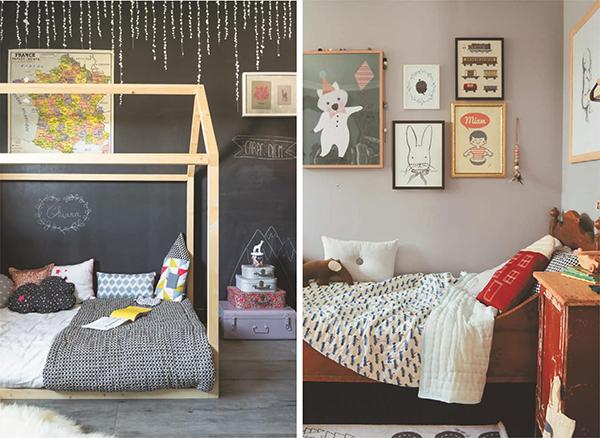 Винтажная мебель и постеры придают детской индивидуальность.