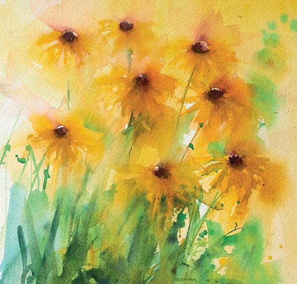 Если рисуете цветы с натуры, подносите к ним палитру, так как иначе сложно будет восстановить ракурс, и ищите соответствующие оттенки.