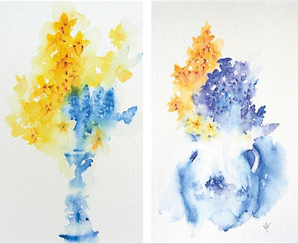 Если вы рисуете срезанные цветы дома (а не растущие в саду), стоит запастись красивыми вазами, стаканами и разными оригинальными емкостями для цветов — например, их можно поставить в чашку или в чайник.